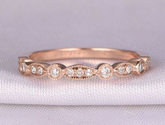 Diamond- April Birthstone. Gemstone can be replaced with other birthstone.  Material: Solid 14k Gold( White/Rose/Yellow gold available,14 &18k available)  Band Width: approx 2.2mm  Stones: 0.16ct Round Cut Natural Conflict Free Diamonds,SI Clarity,H color  Cut: Very-Good  Setting: Prong,Bezel,Milgrain  Fit: Comfortable  ------ {Our custom service}:  Have your own design?Welcome any kinds of custom order. Send us the design and well make the exact jewelry for you!  Need this ring with…