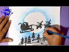 Cómo dibujar a Papa Noel en su Trineo | How to draw Santa Claus Flying on his Sleigh - YouTube