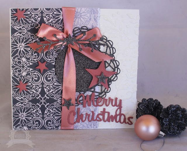 Artdeco Creations Brands: Be merry with a touch of pink Christmas Card by Kerrie Gurney