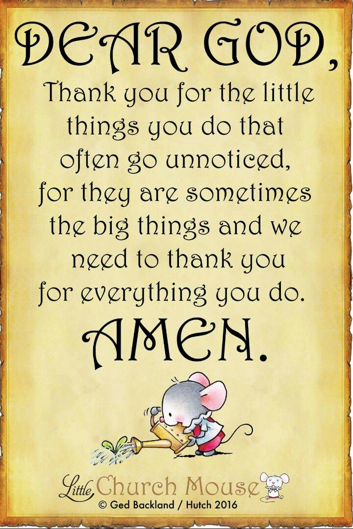 Dear God, Thank you for the little things you do that often go unnoticed, for they are sometimes the big things and we need to thank you for everything you do. Amen...Little Church Mouse. 17 September 2016