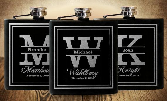 Groomsmen Flasks, Personalized Gift, Wedding Party Flasks, Custom Engraved, 6 Stainless Flasks, Groomsmen Gifts