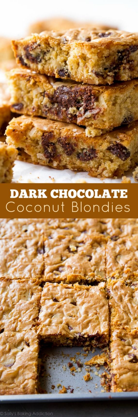 Just a few basic ingredients and no mixer! Super chewy and buttery dark chocolate coconut blondies recipe on sallysbakingaddiction.com