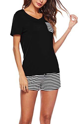 180b85911 KKSSQUEEN Womens Pajama Set 2 Piece Short Sleeve V Neck Top and Striped  Pants Sleepwear