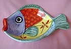 Rare Vietri Inc. Hand Painted Desuir Large Fish Wall/Serving Bowl Made in Italy