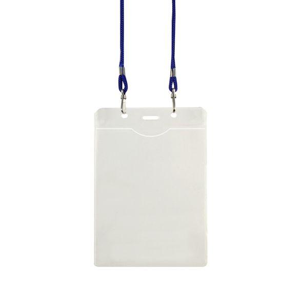 COD.LI016 Porta-Credencial Grande de PVC Clear, incluye cordón azul para colgar. Presentación Formato Vertical.