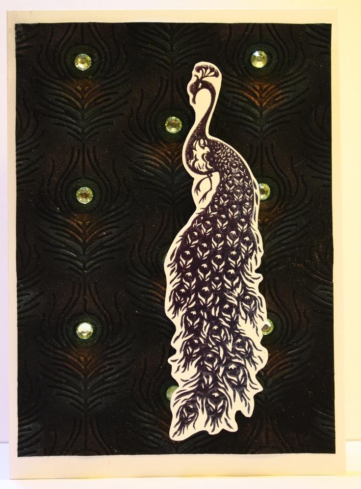 Inkadinkado papercut peacock cling Embossing FolderPunchCardmakingGreeting