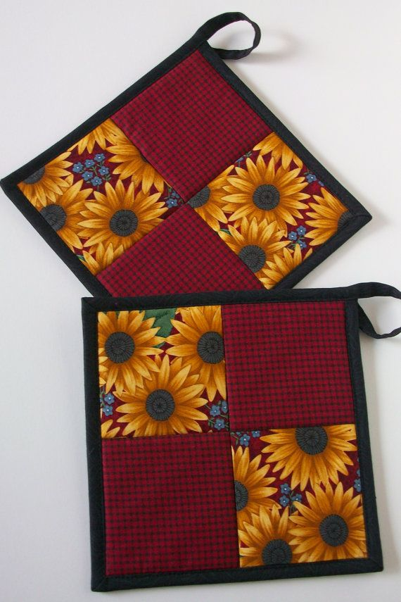 Quilted Pot Holders  Blackeyed Susan by WatsonHouseHandmades, $12.50