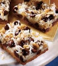 I peeled this recipe off a can of Condensed Milk over 20 years ago..so simple to make & never a crumb is left!! http://FourSeasonGourmet.com/seven-layer-magic-cookie-bars/