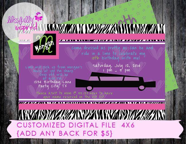 Limo Party - Custom Birthday Invitation by BlissfullyInspired on Etsy https://www.etsy.com/listing/189292794/limo-party-custom-birthday-invitation