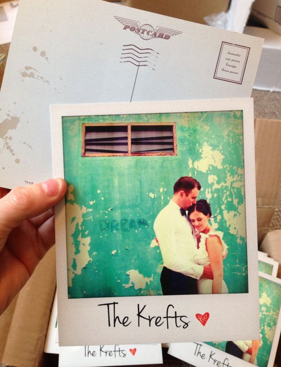 Polaroid style thank you postcards. Such a brilliant idea for a vintage themed wedding! #thankyoucard #vintagewedding #weddingstationary