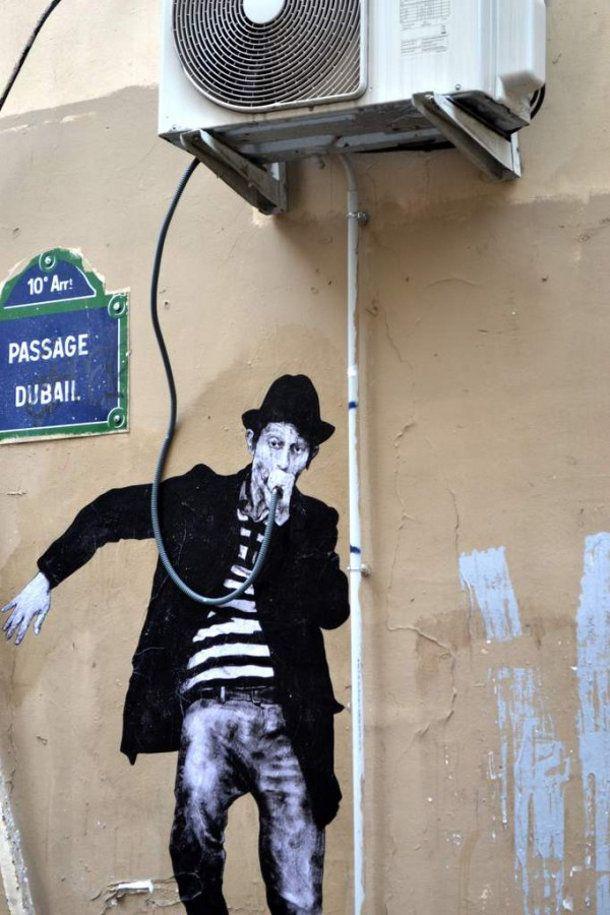 Street art in Parijs by Lavelet http://restreet.altervista.org/levalet-si-muove-in-bilico-tra-la-poesia-e-la-denuncia-sociale/