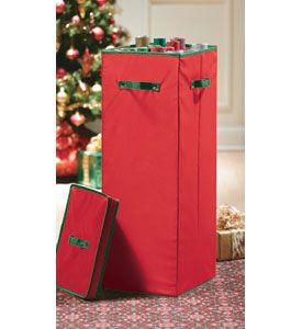 Keep your wrapping paper organized and all in one place with this Wrapping Paper Storage Container. The green and red design on this organizer is a great a