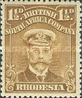 British South Africa Company, 1.9.1913, King George V., No.126, 1 1/2P yellowish brown. Stamped 0,82 USD. Unused 4,39 USD.