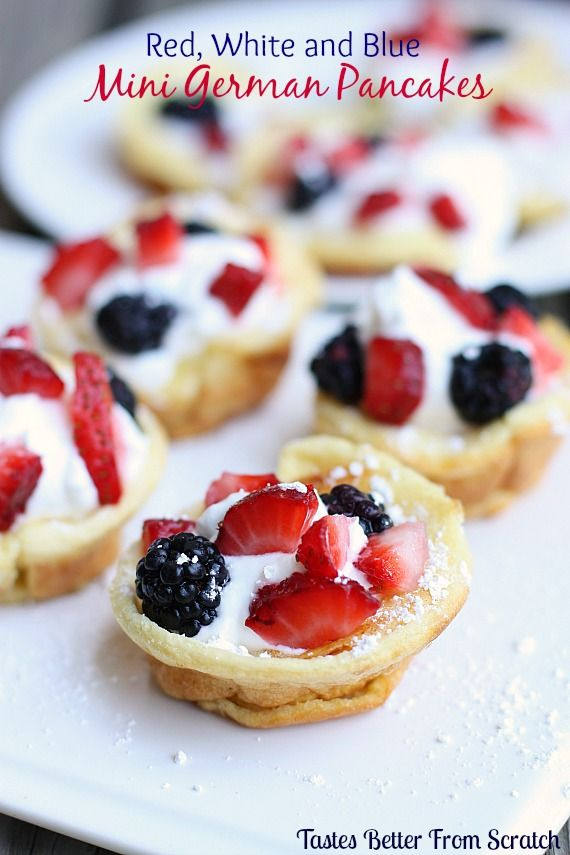 Fruit-filled red, white and blue Mini German Pancakes on MyRecipeMagic.com only take 10min to bake!!