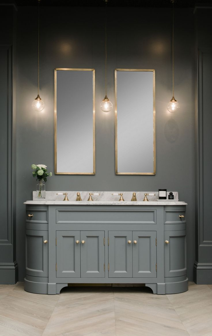 Mirrored bathroom vanity units - Double Stratford Vanity Unit Painted In Btwn Dog And Wolf Paint And Paper Library Marble Vanity Bathroom