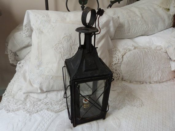 Antique French primitive hanging candle lantern holder 1800s rustic outdoor candle lantern lamp, rustic lighting, iron w glass country decor