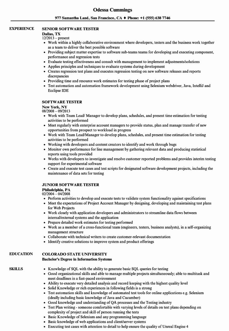 20 Entry Level Qa Tester Resume in 2020 Human resources