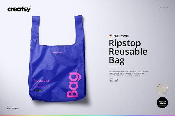 Download Ripstop Reusable Bag Mockup Set Bag Mockup Reusable Bags Ripstop