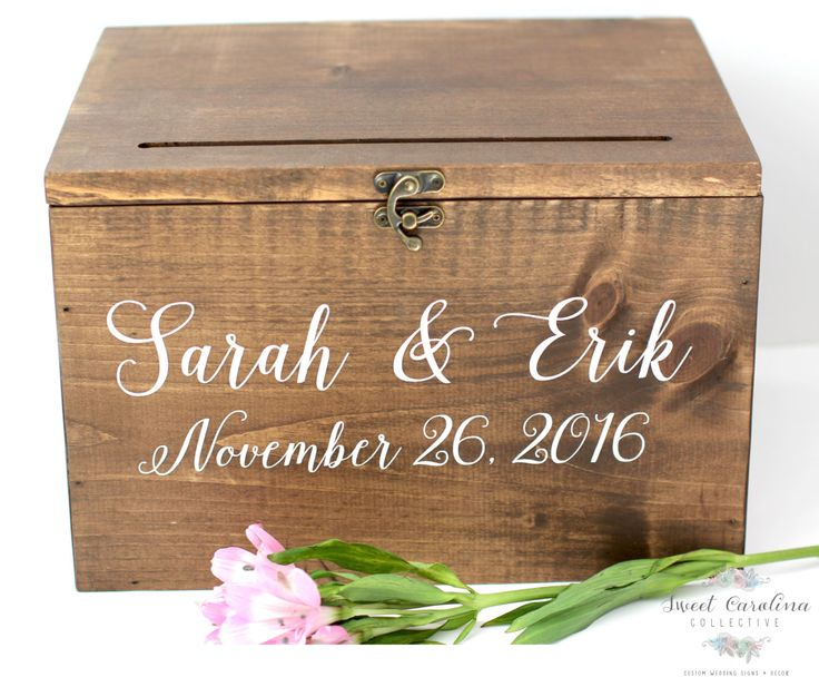 Wood Wedding Card Box with Lid - WS-230 by Sweet Carolina Collective  DETAILS: This listing is for one Wood Wedding Card Box with Lid. This Rustic Cards Box adds the perfect rustic touch youve been looking for your gifts and cards table - great for barn weddings! The wedding cards box pictured is stained in dark walnut stain and hand painted with white acrylic paints. Paint/stain colors can be changed to match your wedding reception and/or special event. Each box comes with the hasp pictured…