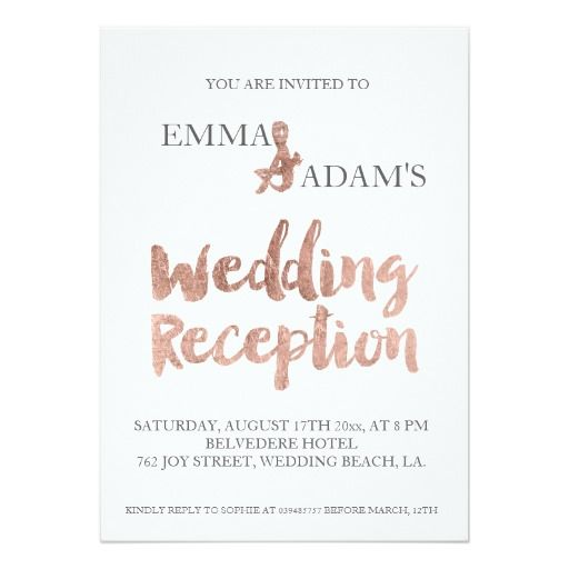 Rose Gold Typography Wedding Reception Faux Foil 2 Card