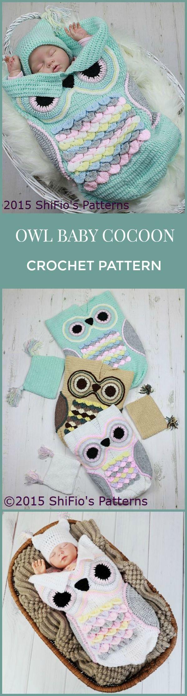 Oh, so cute! I love owls! CROCHET PATTERN For Owl  Baby Cocoon, Papoose & Hat in 3 Sizes U.K, U.S.A, Deutsch, Francais,  Dutch,  PDF Digital Download #crochet #cocoon #pattern #affiliate #pdf