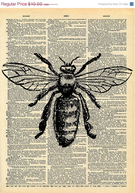 Bee Print   Vintage Dictionary Art Print   Natural History Insect Art    Upcycled Altered Art Book   Rustic Home Decor Print