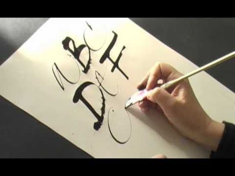 ▶ Calligraphy Pages Pt. 3/4 Luca Barcellona | Francesca Biasetton - 2008 - Cola Pen (made out of a coke can!), ruling pens, markers, and a wonderful combined ABC with the calligraphers writing alternate red and black letters.