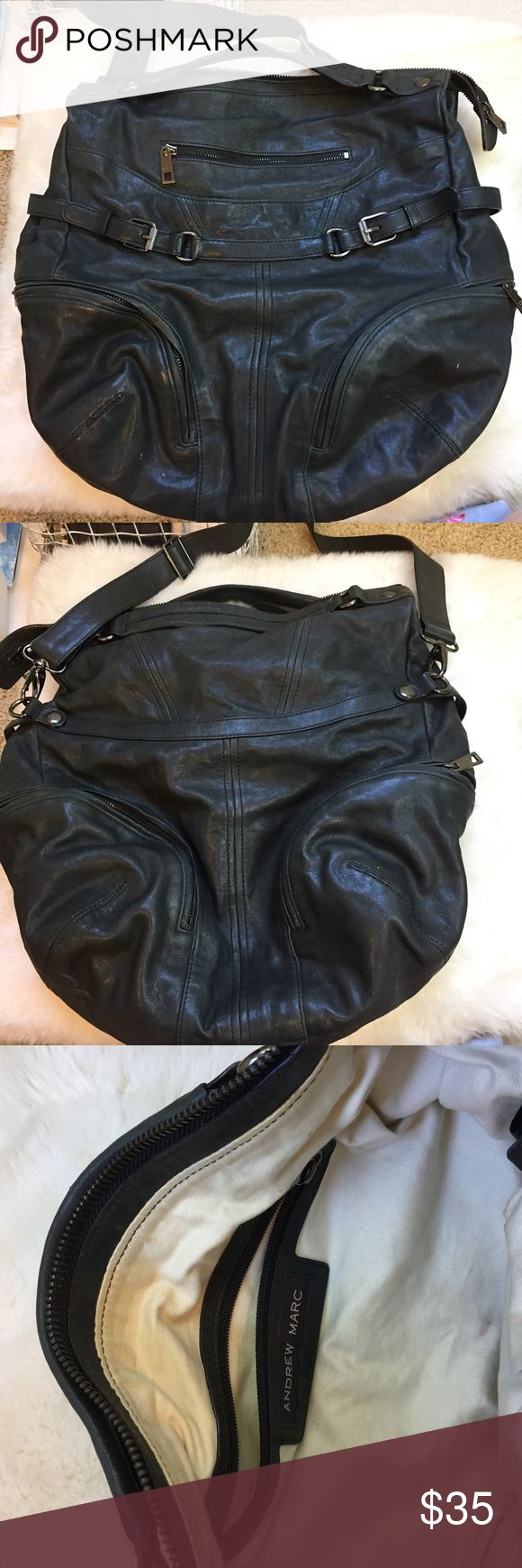 Black Andrew Marc Bag this is real leather and is in good used condition. this andrew marc bag is authentic. Questions? ask below! Andrew Marc Bags