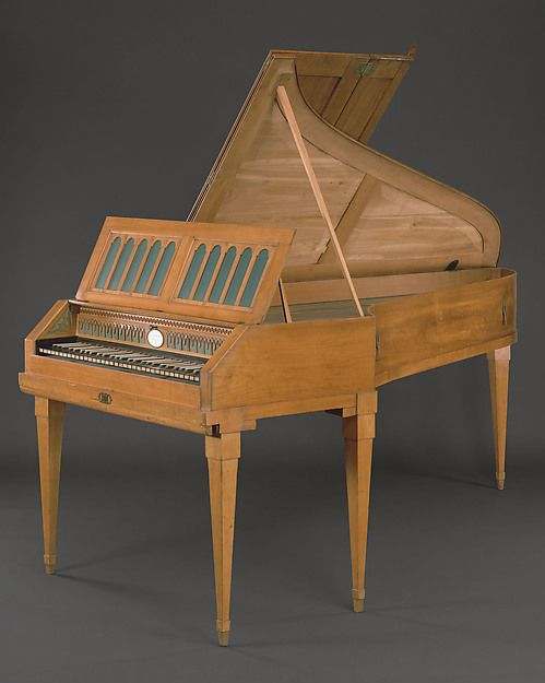 Ferdinand Hofmann | Grand Piano | Austrian | The Met;  Grand Piano  Maker:Ferdinand Hofmann (Austrian, 1756–1829 Vienna) Date:ca. 1790 Geography:Vienna, Austria Culture:Austrian Medium:Cherry wood, brass, enamel, ebony, bone Dimensions:Width: 37 1/2 in. (95.3 cm) Depth: 82 7/8 in. (210.5 cm) Classification:Chordophone-Zither-struck-piano Credit Line:Gift of Geraldine C. Herzfeld, in memory of her husband, Monroe Eliot Hemmerdinger, 1984