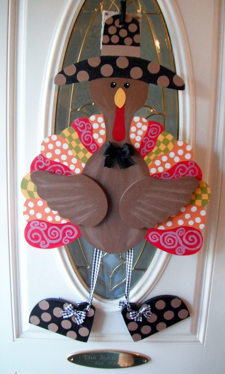 Turkey Door Hanger Painted 10 31 12 Wooden Door Hangers