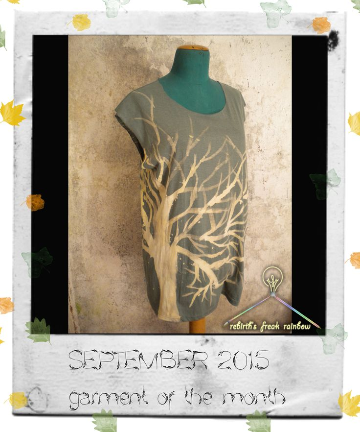 September 2015 - garment of the month Ecco arrivato l'autunno, Rebirth's Freak Rainbow propone per interpretarlo Tree, t-shirt cotone 100%, dipinta a mano a decolorazione. #tshirt #autumn #tree #handpainted #fashionstyle