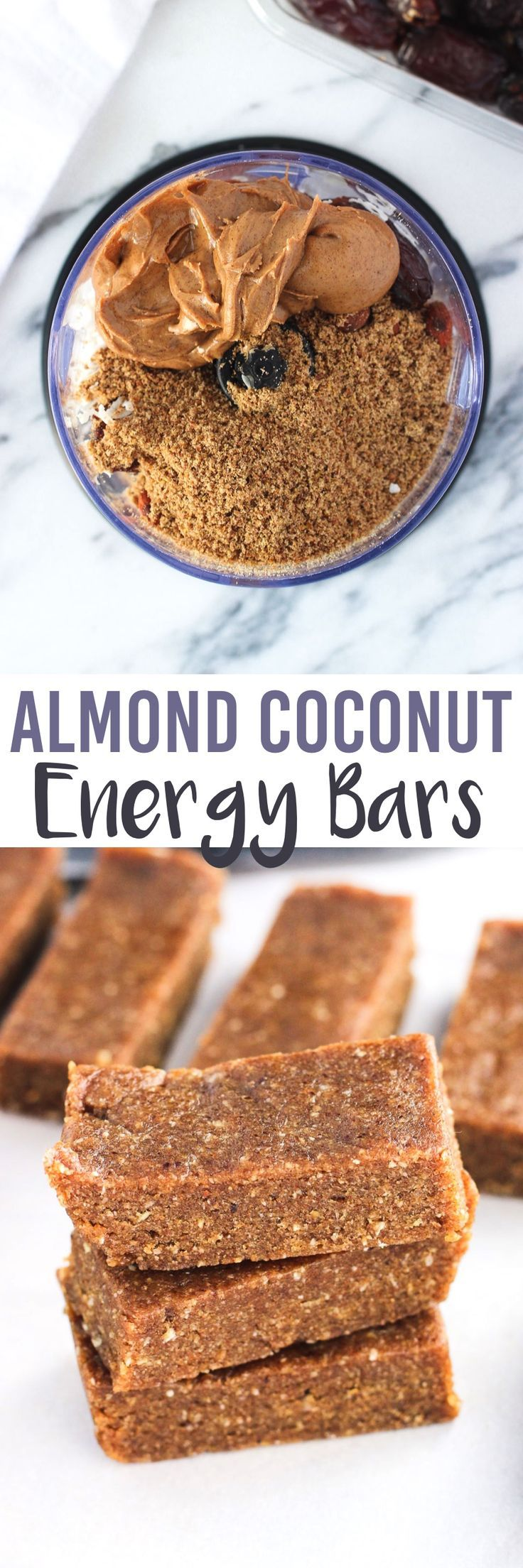 These five-ingredient Almond Coconut Energy Bars are dense and chewy with a consistency like a Larabar. Great almond and coconut flavor and vegan.