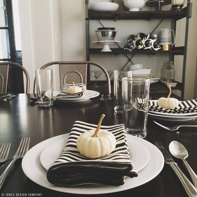 Design Imports Black and White Striped Cloth Napkins: Featured on Jones Design Company | www.designimports.com