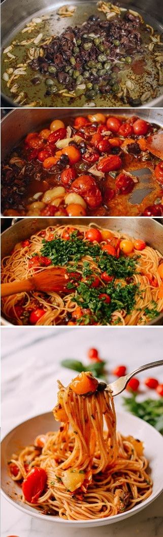 ROASTED CHERRY TOMATO PASTA PUTTANESCA, recipe by the Woks of Life #puttanesca #vegetarian #vegan #roasted #cherrytomato #tomato #pasta