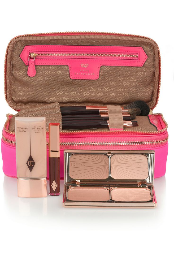 Anya Hindmarch | Make-Up neon patent leather-trimmed cosmetics case | NET-A-PORTER.COM