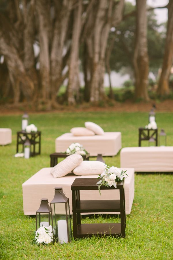 Outdoor Wedding Lounge Area | photography by rebeccaarthurs.com | floral design by yvonnedesign.com/