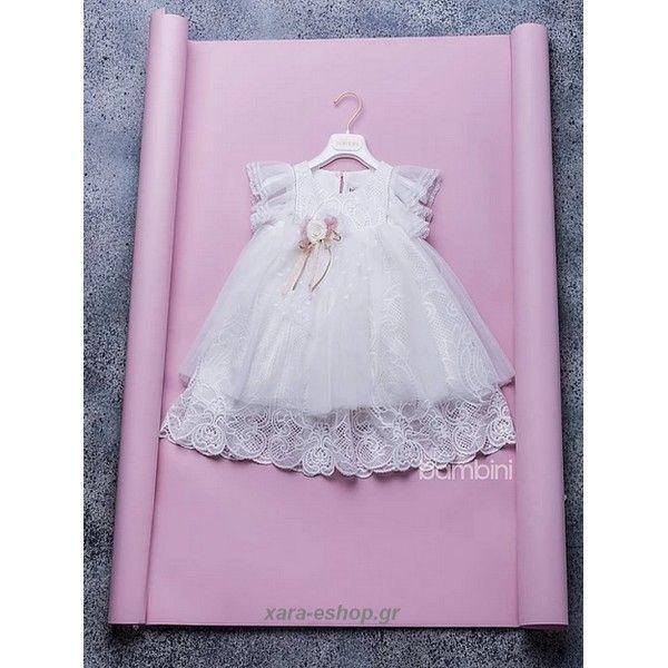 Βαπτιστικό φόρεμα Dolce Bambini από δαντέλα κεντημένο με strass και ανάλαφρα μανίκια, Οικονομικά βαπτιστικά ρούχα κορίτσι προσφορά, Φορέματα βαπτιστικά τιμές, Βαπτιστικά κορίτσι Dolce Bambini, Βάπτιση-Βαπτιστικά eshop