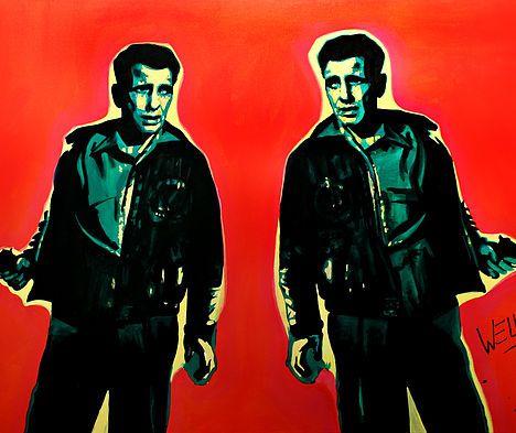 Double Bogie art by Stacey Wells. Nothing better than a double bogie when it is Humphrey Bogart. Humphrey Bogart looking cool sporting a gun. Original art by Stacey Wells