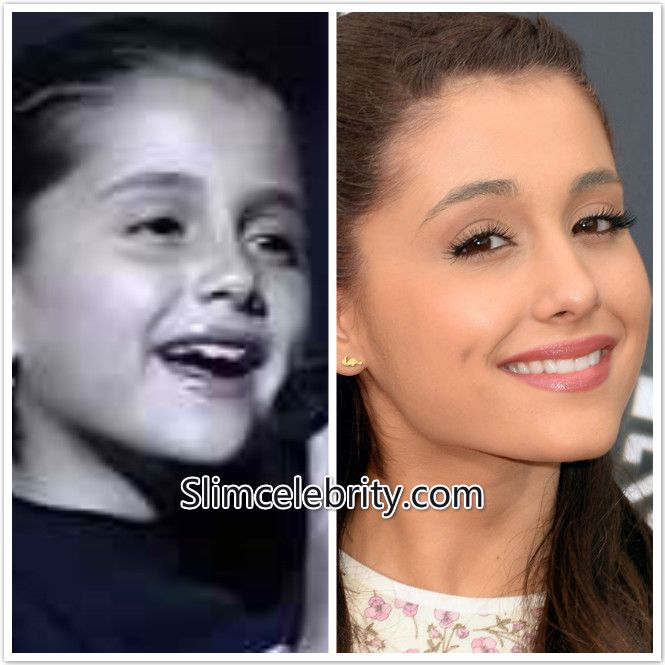 Before and after picture of  Ariana Grande