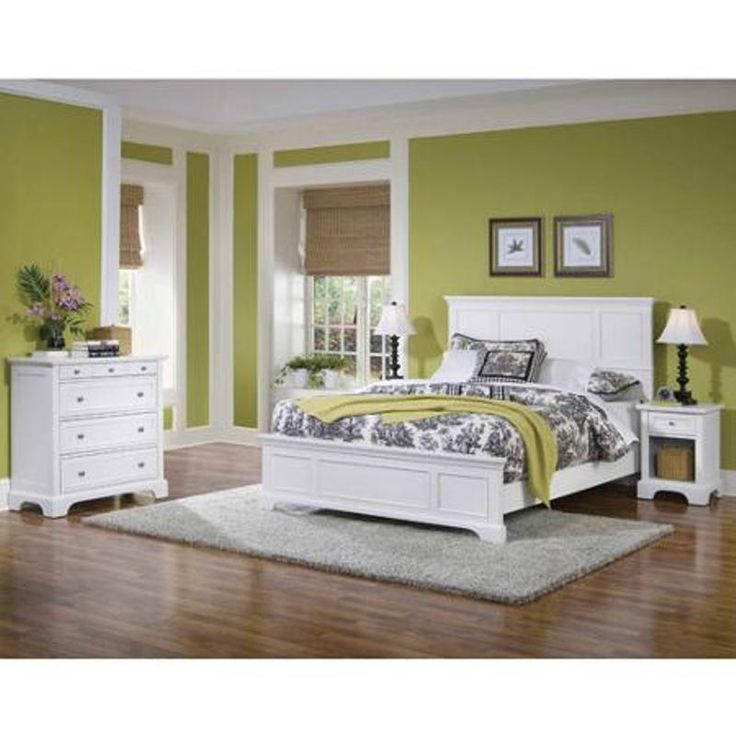 White Bedroom Set Queen Bed & Nightstand & Chest Furniture Sleeping White Finish #HomeStyles #Contemporary