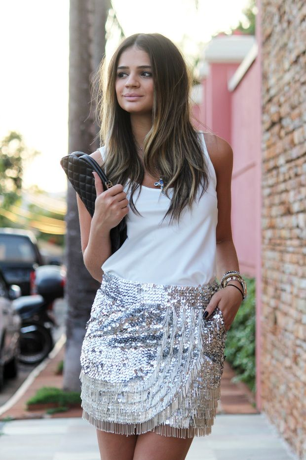 black clutch white top shirt glitters skirt style fashion - ladies night