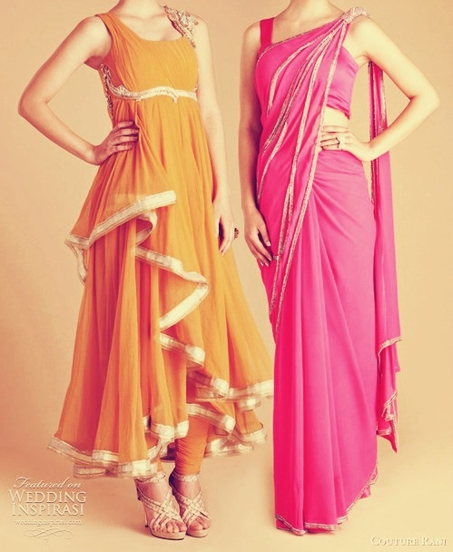 Gorgeous pink sari and yellow orange anarkali