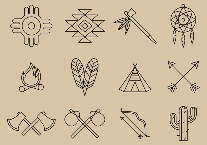 Native American Line Icons