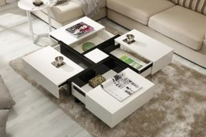 Show details for High Gloss White Lacquer Contemporary Coffee Table Set #719