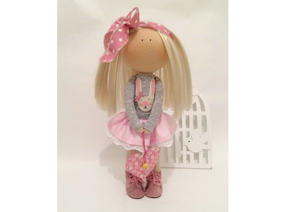 Decor tilda doll Art doll Sunny doll handmade blonde pink colors soft doll Cloth doll Fabric doll love toy by Master Marina ToyShop