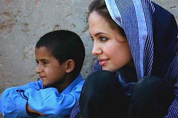 Angelina Jolie - Angelina uses the power of celebrity for good causes. Here she is during her work for UNICEF.