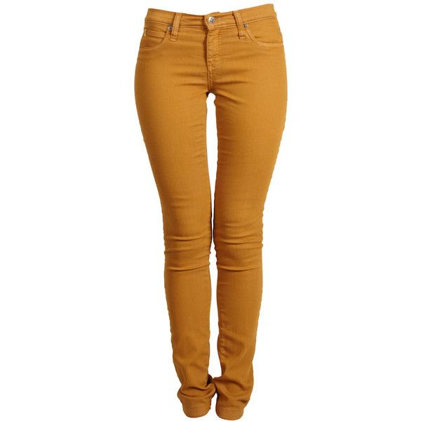 SECOND YOGA JEANS Mid Rise Skinny Mustard Jeans ($119) ❤ liked on Polyvore