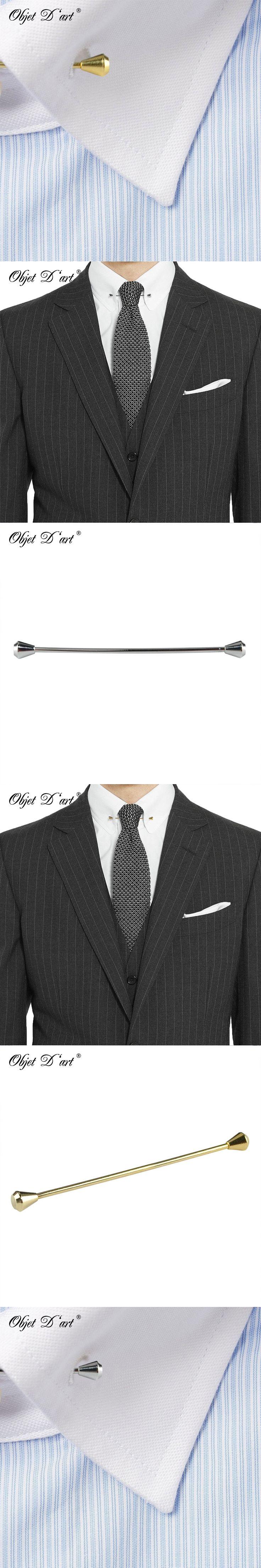 Fshion Collar Brooch Men Suit Lapel Pin Blue Top Men's Jewelry Modern Executive Wedding Business Collar Pin Bar Suit Accessories