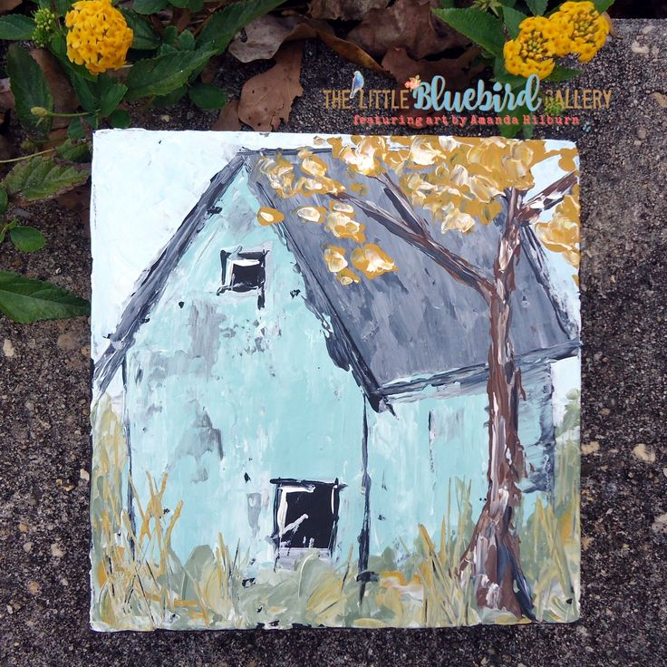Fall Barn is an original acrylic painting by Amanda Hilburn. Get this one of a kind artwork at The Little Bluebird Gallery | Art by Amanda Hilburn #barn #turquoisebarn #farmhouse