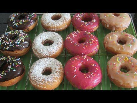 Жареные ПОНЧИКИ с разноцветной глазурью. Очень простой и вкусный рецепт - YouTube